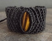 Black Macrame Cuff with Tiger Eye Gemstone, Men's Macrame Bracelet