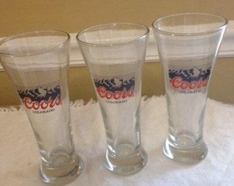 3 coors beer glasses  vintage