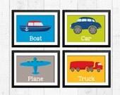 Transportation construction art prints, boat car plane truck prints, transportation nursery decor, car art prints for baby, baby and kids