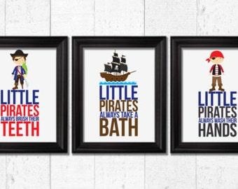 Little pirates always take a bath, Kids Decor, Pirate art, Kids Art, Baby Decor, Nursery print, pirates bedrooom decor, little pirate art