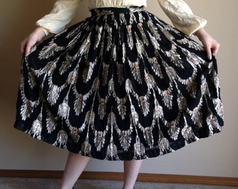 80s w/ 60s vibe Evan Piccone Metallic and Black Evening Skirt