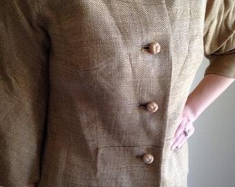60s Safari Feel Sateen Burlap Linen Suit From I Magnin