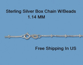 Sterling Silver 1.14 MM BOX Chain (w / Beads) Free Gift Box # 872