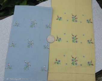 vintage linen finger tip towels (set of two) 1980's or earlier blue and yellow with embroidery some pots on one brand new