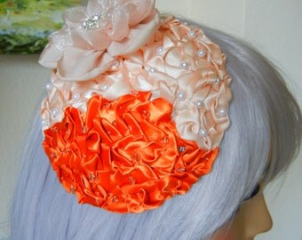 Cinnamon and Ivory Satin Ribbon Fascinator with Fabric Flower