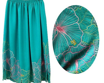 90s green emerald EMBROIDERED midi skirt  PSG FRANCE