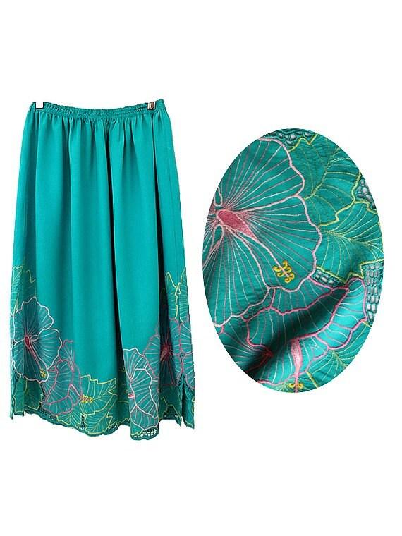 90s green emerald embroidered midi skirt psg