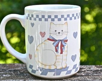 Happy Cat Love Mug. Orange Tabby.  Ginger Tiger.  - VC163