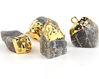 Gold Electroplated Labrodorite Rock Pendant, Gold Dipped Gemstone Pendant, 1 piece // GP-346