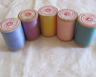 Thread Spool Lot 5 American Thread Co Assorted Colors Mid Century Cotton Mercerized Thread Wooden Spools 800 yards Each