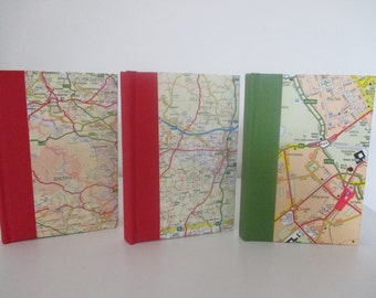 Made to order personalised handbound  map notebook, travel, journal, diary.  Choose the location.