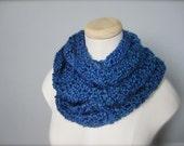 Crochet Blue, Bright Royal Blue, Ocean Blue, Hanukkah, Chanukah Handmade Infinity Scarf, Women's Scarf, Men's Scarf, Unisex Scarf