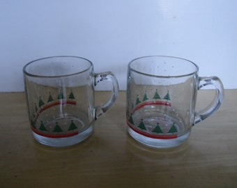 Vintage Christmas Glasses - 2 Glass Mugs, Handled Mugs, Christmas Trees and Snowflakes, Made in Canada
