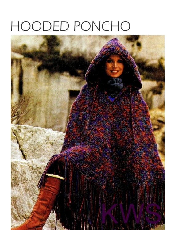 Knitting Pattern For A Hooded Cape Cloak Or Poncho : Vintage 70s Crochet HOODED Poncho PDF Pattern by KinzieWoolShop
