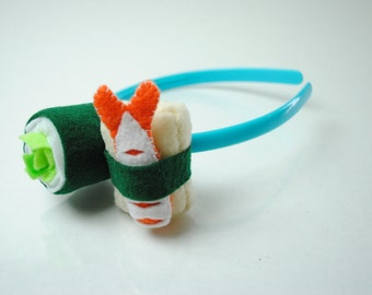 Sushi Headband - Veggie, Egg, Shrimp - Felt Plush Accessory