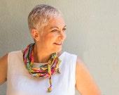 Multicolor Circle Scarf necklace - rainbow color scarf wrap - gift idea