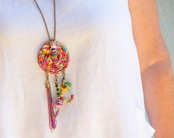 Colorful Necklace, Dreamcatcher Necklace, Charm Jewelry, Fringe Necklace, Fabric Necklace,Chain Necklace, Boho Jewelry, Hippie Style, OOAK