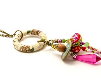 Fabric pendant necklace -Textile Charm Pendant Necklace - gift idea - long rope necklace - fabric jewelry