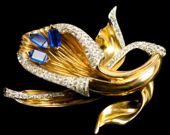 Sterling REJA Flower Brooch HUGE Vintage Pin Blue Rhinestone  Gold Plated