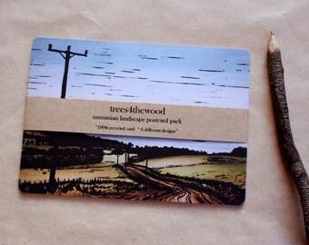 Pack of 6 Postcards,  Linocut Landscapes, 6 Designs, Australian Landscape Postcards