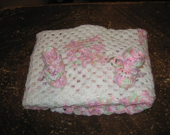 Pink and White Granny Square Gift Set