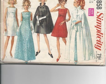 Vintage Sewing Pattern Simplicity 7858 for Dress, Sz 14, 1960s (cape pieces missing)