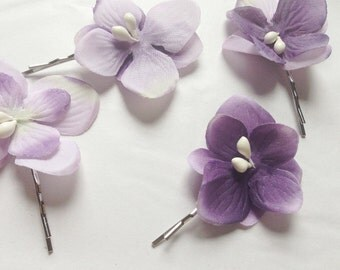 Purple hydrangea floral flower bobby pins hair clips hair accessories with pip detail, summer boho hair bridal wedding