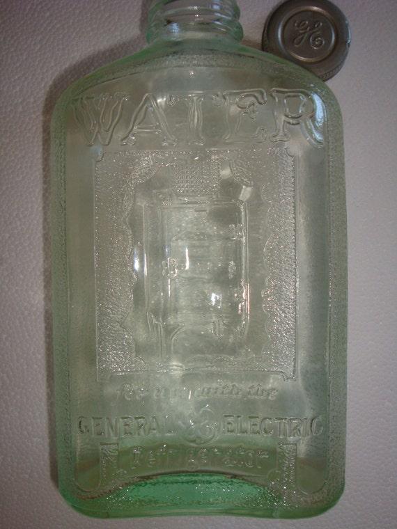 Vintage Ge Refrigerator Water Bottle General Electric Glass