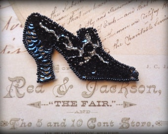 Victorian Shoe Beaded Sequin Applique, Black, x 1, For Apparel, Accessories, Costumes, Mixed Media, Romantic & Victorian Crafts