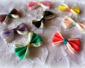 Grosgrain Ribbon Bow Butterfly Appliques, Multi-Color, x 8, For Accessories, Party, Scrapbook, Apparel, Home Decor