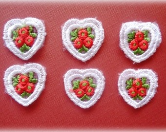 Venice Lace Embroidered Heart Appliques, x 6, Embellishment For Dolls, Apparel, Accessories, Scrapbook, Decor, Romantic & Victorian Crafts