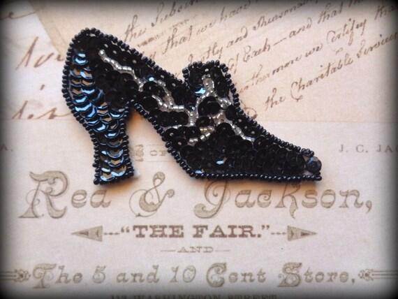 Victorian Shoe Beaded Sequin Applique, Black, x 1, For Apparel, Accessories, Costumes, Mixed Media, Romantic & Victorian Crafts