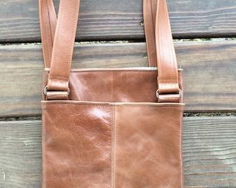 Leather Shoulder Bag Purse with Pocket Detail