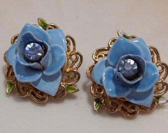 Kramer Blue Enamel and Rhinestone Earrings