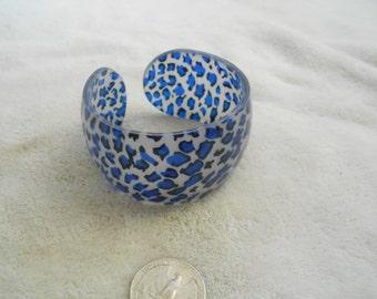Vtg Bracelet-Blue Leopard Print Cuff