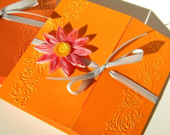 Orange, pink and grey wedding invitation / Orange and pink invitation / Floral wedding invitation