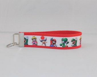 Keychain Wristlet Made With Super Mario Inspired Ribbon