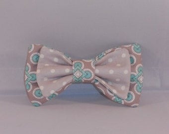 Gray and Mint Child's Hair Bow With Choice of Elastic Band or Clip