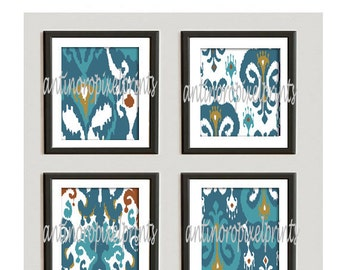 Teals, Turquoise, Gold Khaki Damask Ikat Art Picture Collection - Set of (4) - 10 x 10 Prints  (UNFRAMED) Custom Colors Available #235417770