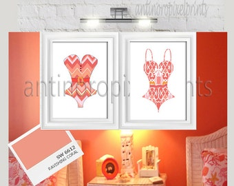 Vintage swim Suit  Beach House Posters  Corals White Wall Art  -Set of (2) 20x30 Prints -  (UNFRAMED) #235320977