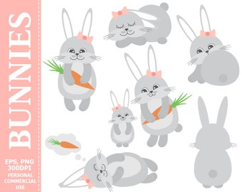 50% OFF SALE Digital Bunnies Clip Art - Rabbits, Carrot, Cartoon, Pastel, Baby, Hare Clip Art