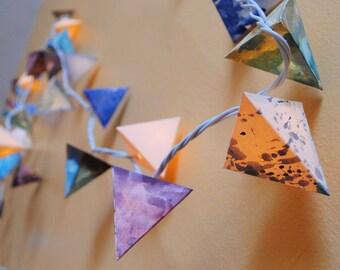 Paper Lantern Garland - RIVER STONES - handmade paper light garland in chocolate, cream, speckle, and blue