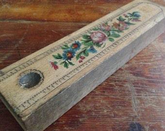 Handcrafted Wood Pencil Case Floral Design Slide Box Hidden Compartment