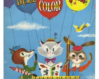 Vintage Trace and Color Children's Coloring Book