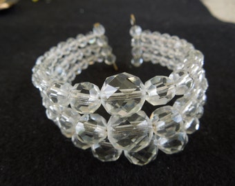 Vintage Glass Bead Bracelet, Triple Layer, Flexible, Nice Condition