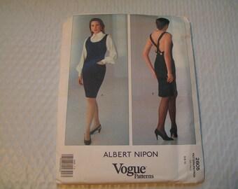 Vintage Vogue Pattern 2605 Albert Nipon Miss Dress Jumper Blouse