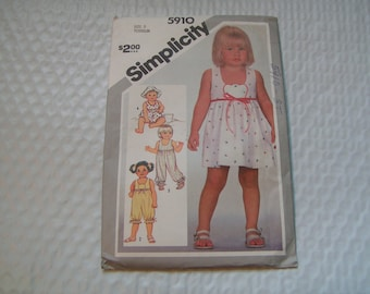 Vintage Simplicity Pattern 5910 Toddler Jumpsuit in two lengths Dress Romper