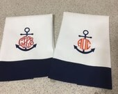 Anchor Hand Towels Monogrammed