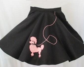 Girls Pink Poodle on black felt 1950 happy days skirt