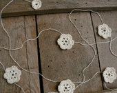 Crochet Garland, Wedding garland, crocheted flowers, Wall Hanging, Wedding crochet garland, embellishment cotton ecru applique